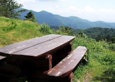 Abri du Blaufels : une des tables et le panorama offert